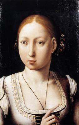 JUAN DE FLANDES (b. ca. 1465, ?, d. 1519, Palencia)   Click! Portrait of Joan the Mad  1496-1500 Oil on wood, 36 x 26 cm Kunsthistorisches Museum, Vienna  The portraits of Joan the Mad and Philip the Handsome were painted on the occasion of their marriage. The paintings shows the capabilities of the artist in the genre of portrait, the only subject permitted beside religious themes in Catholic Spain.
