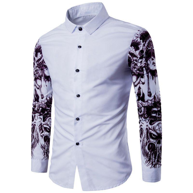 Men Long Sleeve Casual Shirt Slim Fit Stylish Paint Splatter Hidden Button Shirt