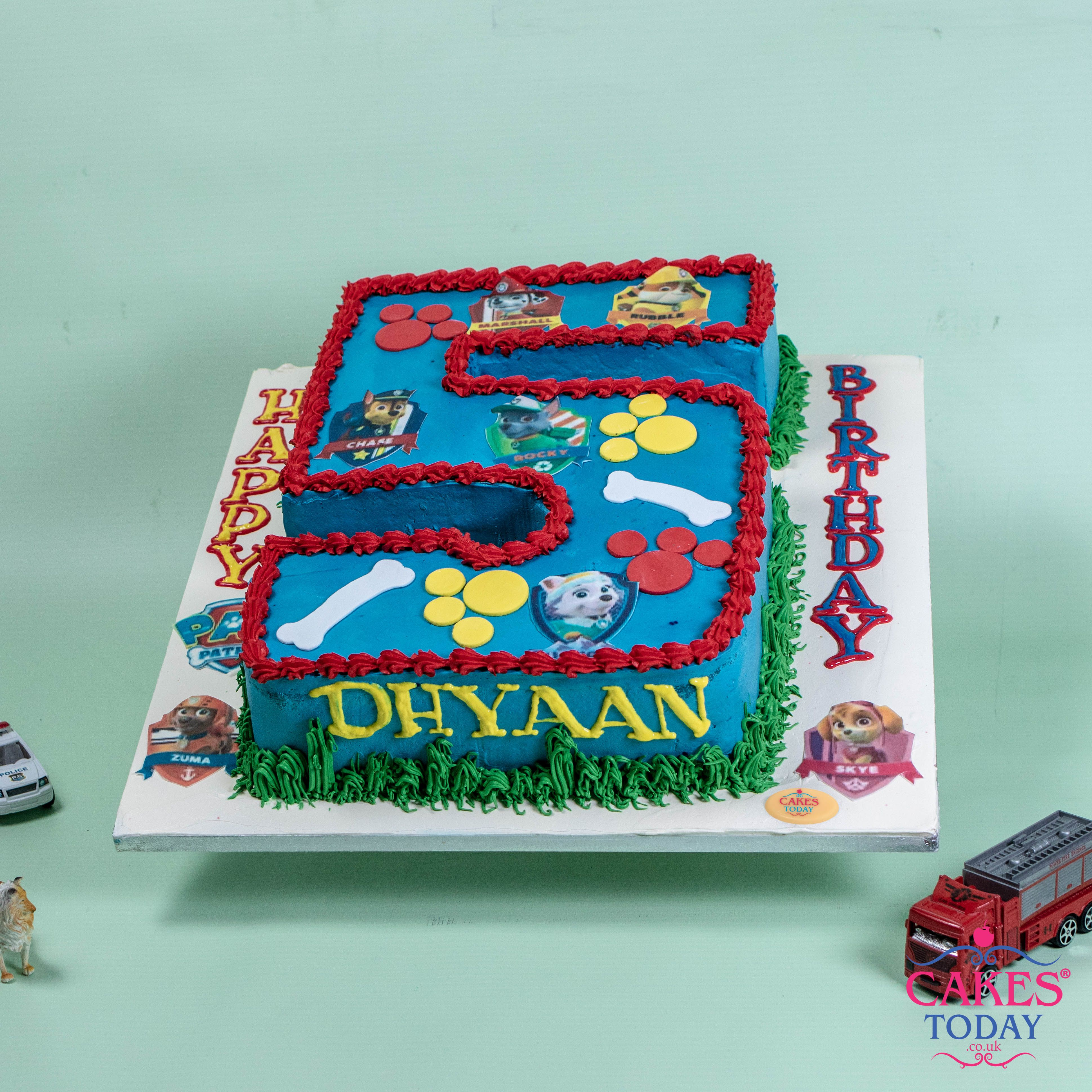 Number 5 Shaped Cake For Dhyaan Designed In The Theme Of His Favourite Cartoon TV Show Paw Patrol NumberCake CakesToday