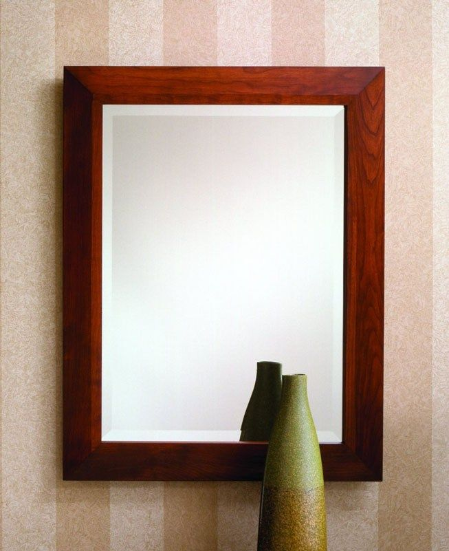 442 - Rectangle mirror features a solid cherry frame ...