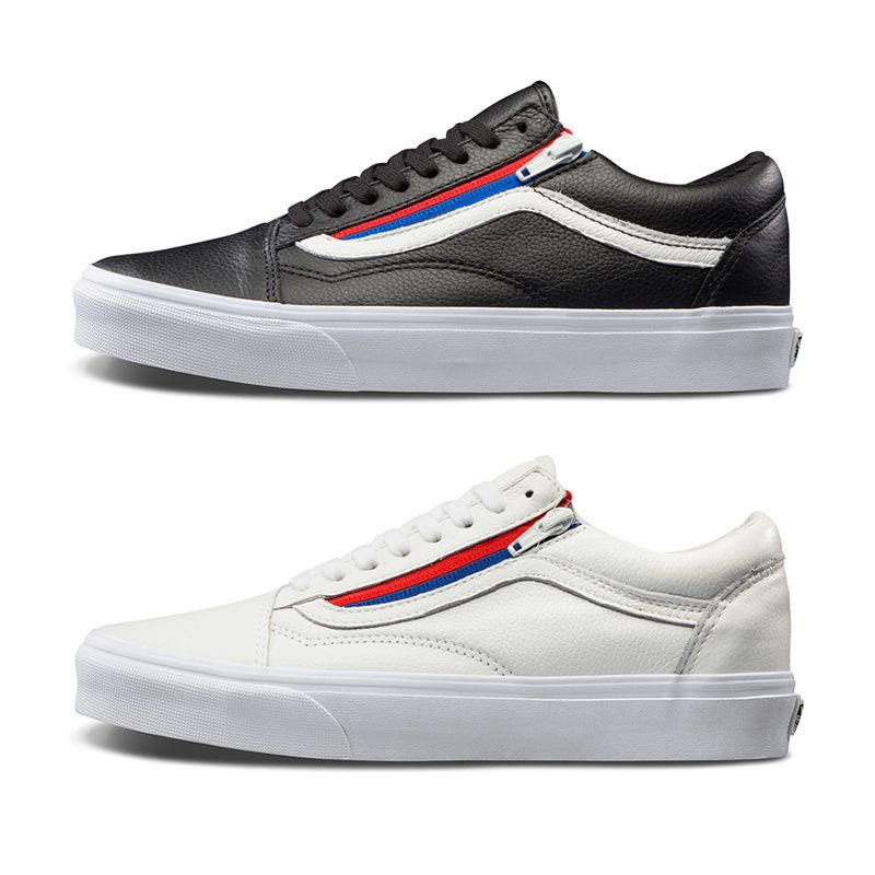 b3904f7a8680 Vans old skool ZIP first layer of leather red and blue side of the zipper  couple leisure skateboard shoes VN0A3493OU8 white low LY28 Size  35 36 37  38 39 40 ...