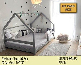 Photo of US Twin Size bed with linen cover&window, Children house bed, Modern Floor bed, Wooden baby bed, Play house bed frame, Montessori bed
