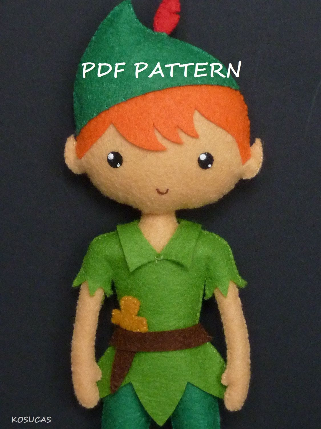 PDF sewing pattern to make a fellt Peter Pan 9 inches tall. It is not a finished doll. Includes tutorial with pictures and step by step explanation. For hand sewing. Difficulty: medium Instructions in Spanish-English. Things to do with this pattern can be sold in your own shop. Mass production, re-sale and distribution of pattern pieces and instructions is Expressly prohibited. Dolls made from this pattern are not suitable for children under 3. Instant download. If you have problems…