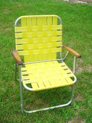Vintage Aluminum Folding Webbed Lawn Deck Chair 4+ Lbs