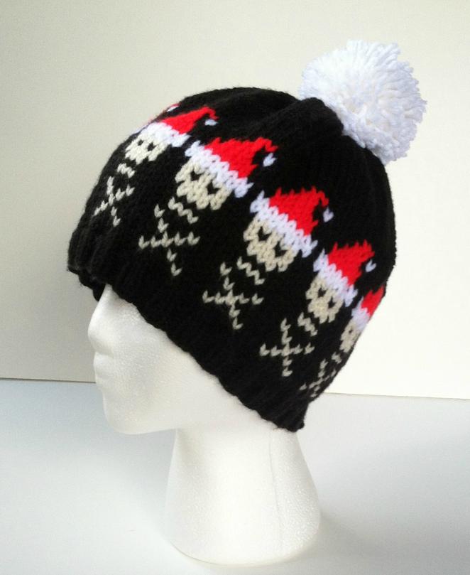 Skull Pattern Santa Hat Knitting Hats Pinterest Santa Hat