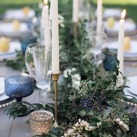 Decoração de Casamento : Paleta de Cores Azul Acinzentado e Verde