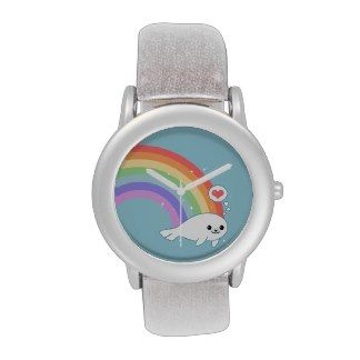 Cute Seal with Rainbow Wrist Watches