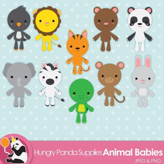 Animal babies cute clipart, digital, jungle animals ...
