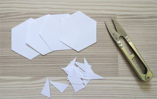 Paper hexagon templates for patchwork.