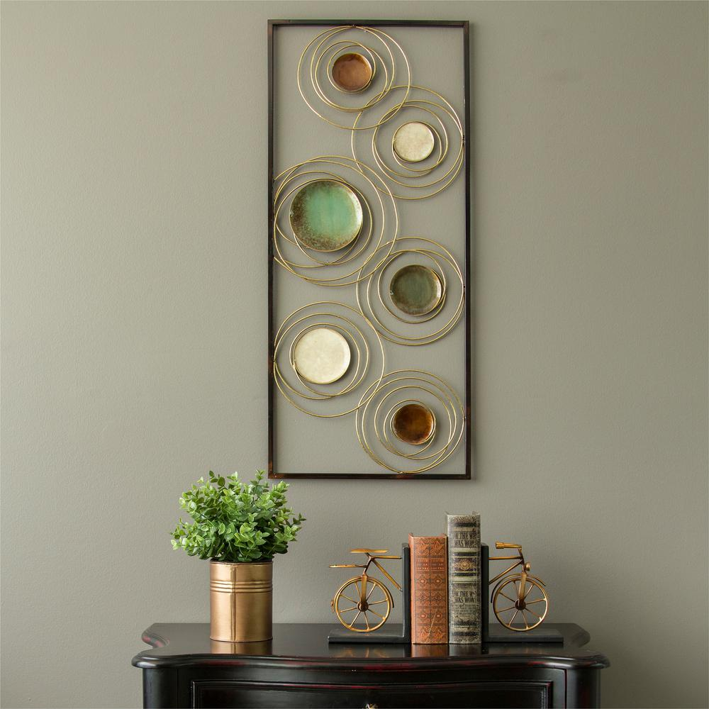 Stratton Home Decor Geometric Metal Rings Panel Wall Decor S09548