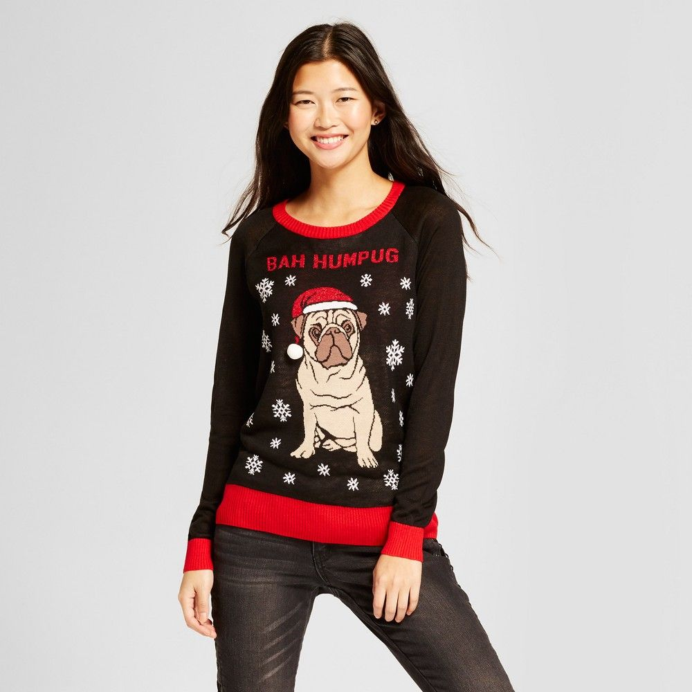 Womenus bah humpug long sleeve ugly christmas sweater well worn
