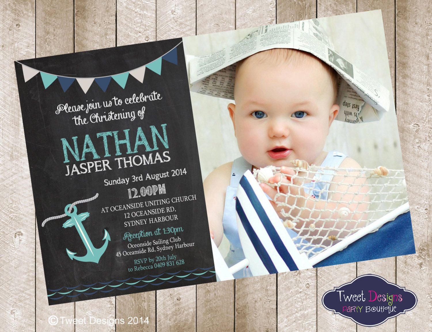 Blackboard Nautical Christening Naming Day or Baptism