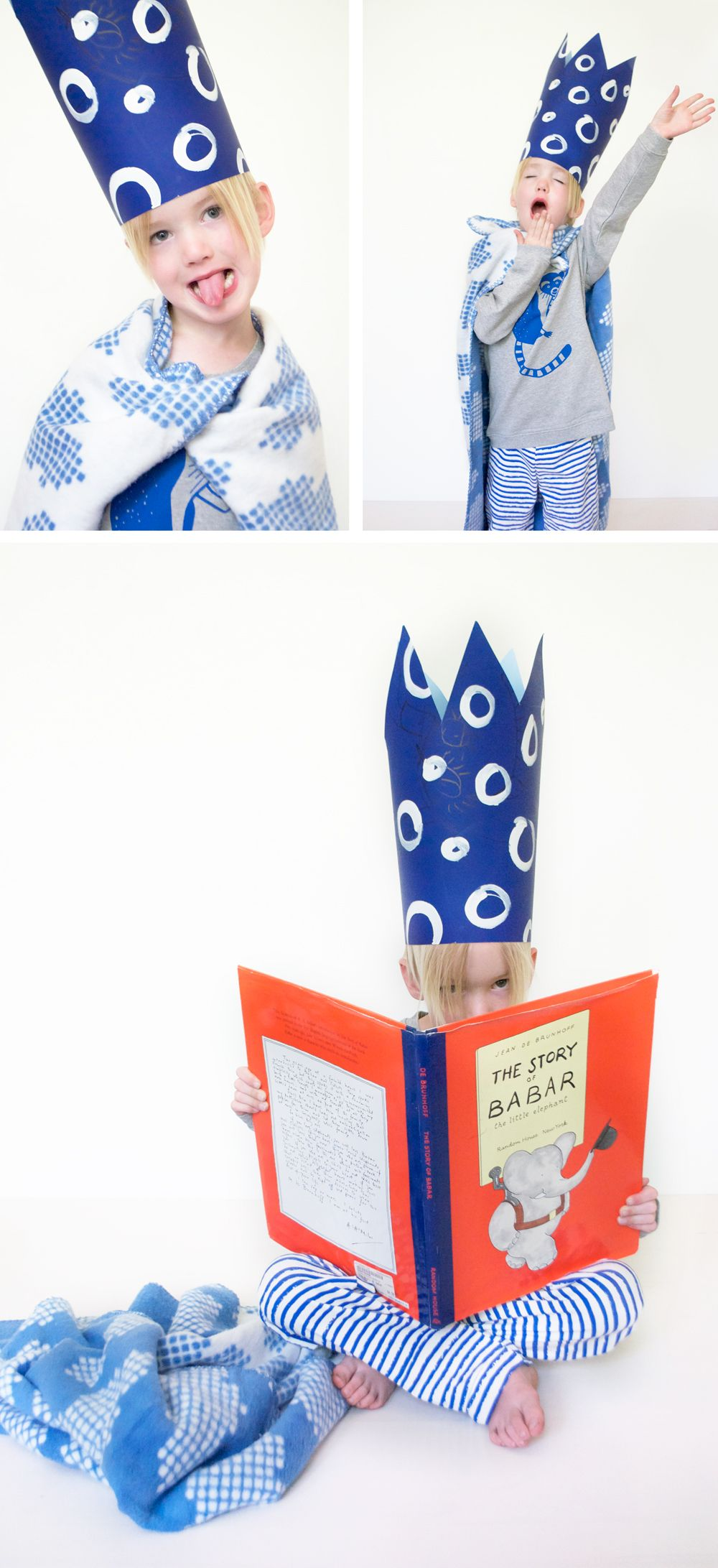 DIY poster board crown and sleepy blue picks from eco boutique Shak-Shuka