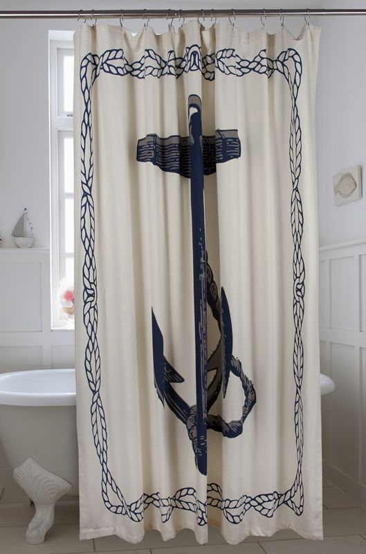 Anchor Shower Curtain Ink Beach House Decor Coastal Decor