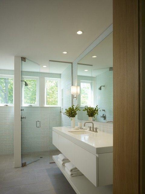 Cool Tones. Simple glass tiling details. master bath ideas | Master ...