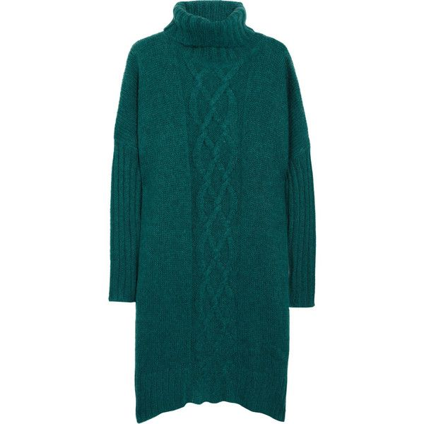 By Malene Birger Giwal cable-knit sweater dress (456.240 COP) ❤ liked on Polyvore featuring dresses, emerald, blue sweater dress, side slit dress, by malene birger dress, cable sweater dress and loose fitting sweater dresses