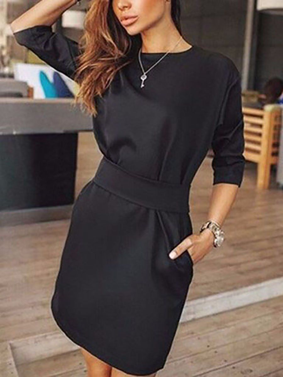 Crew Neck Cutout Belt Belt Loops Bust Darts Plain Shift Dresses - Mini dress with sleeves, Work dresses for women, Plain skater dress, Women bodycon dress, Dresses for work, Cheap fashion outfits - winter,spring Dress Silhouette fitted Package Included dress1