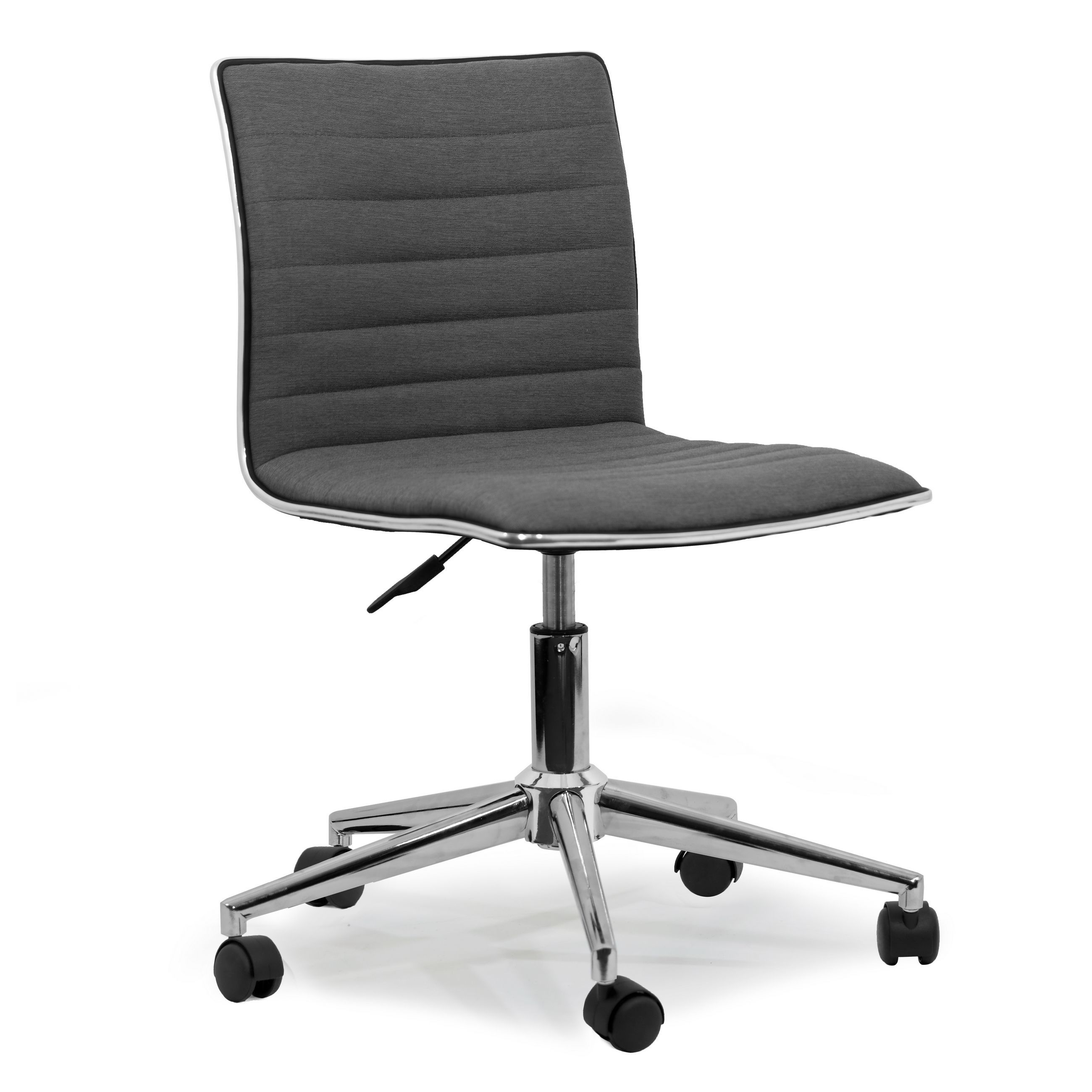 Aiko Grey Fabric Chrome Metal Swivel Office Chair With Wheels Swivel Office Chair Office Chair Office Chair Wheels