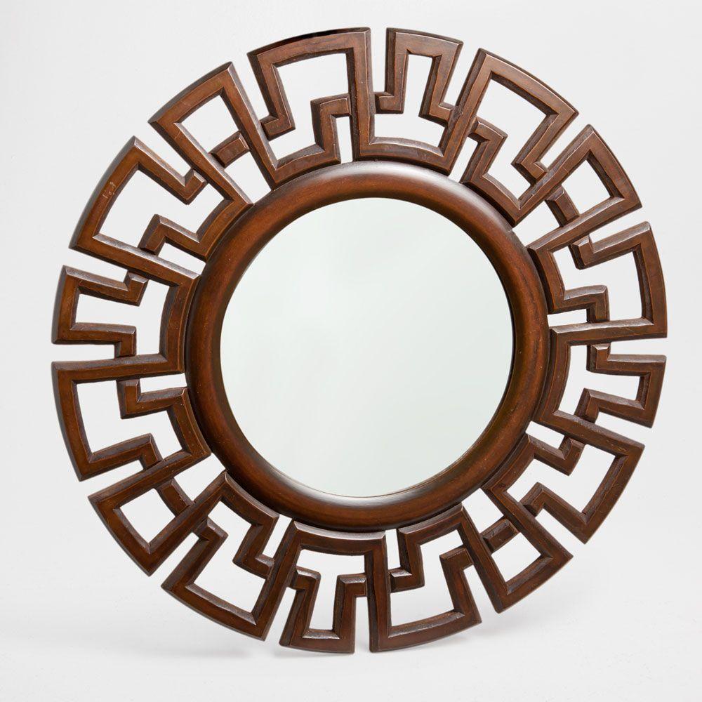 Espelho madeira talhada formas geométricas