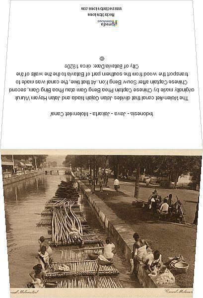 Greetings Card-Indonesia - Java - Jakarta - Molenvliet Canal-Photo Greetings Card made in the USA