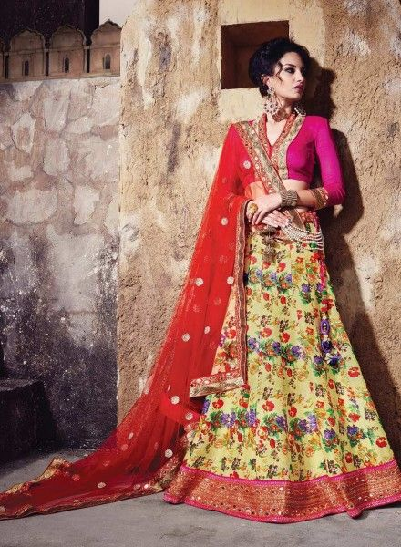 f5ab518485 Yellow & Red Pure Banarasi Silk Lehenga Choli 5187767 | designer ...