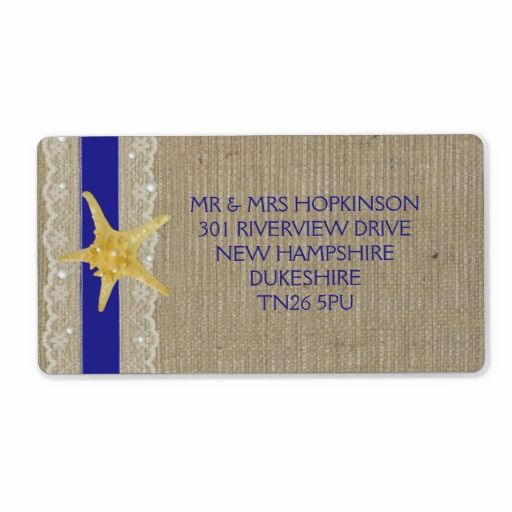 NAVY BLUE LACE AND PEARL BURLAP BEACH WEDDING CUSTOM SHIPPING LABELS