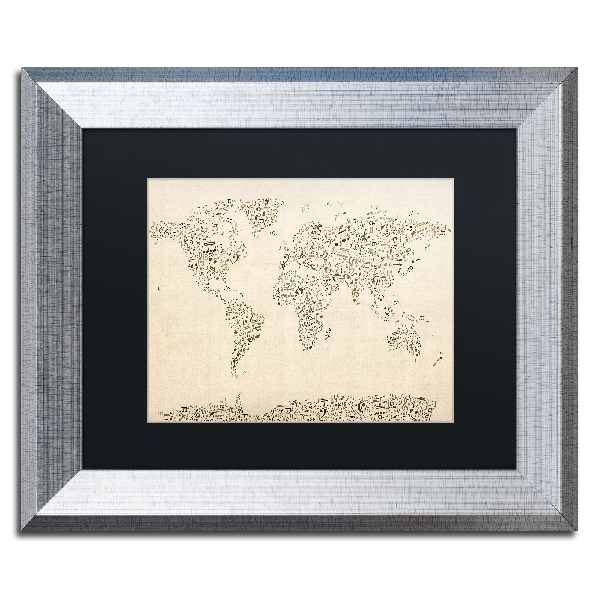 Michael tompsett music note world map black matte framed wall art michael tompsett music note world map black matte gumiabroncs Image collections