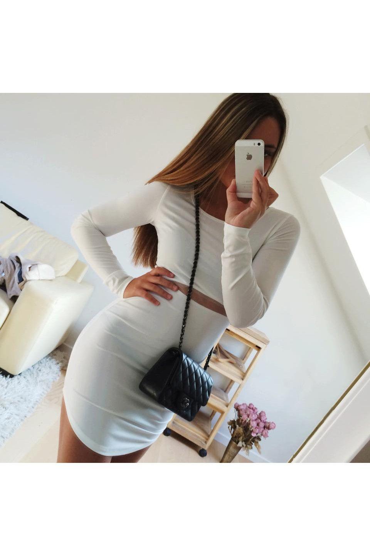 """Jennie"" langærmet bodycon kjole - Hvid"