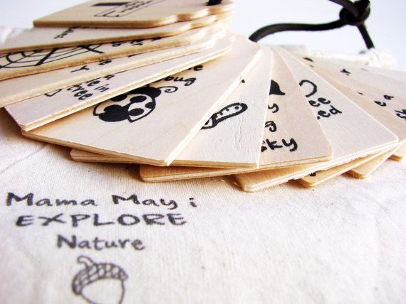 Wooden scavenger hunt list with pictures, all tied together. SO cute!