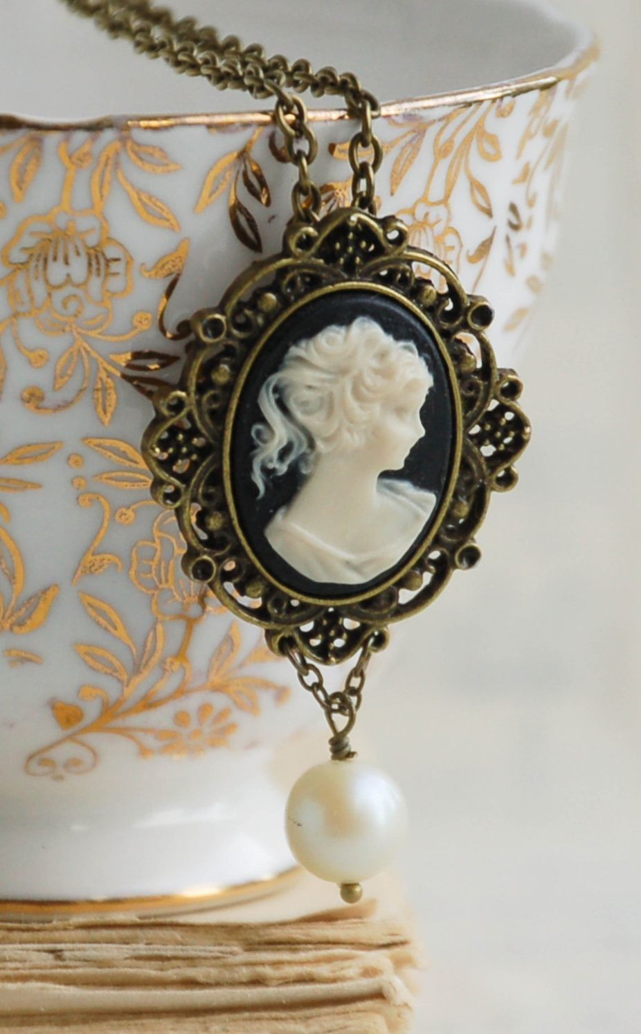 Items similar to Cameo Necklace Black Cameo Pendant Silhouette Cameo Pearl Necklace Bridal Jewelry Gift for Her Gift for Mom Bridesmaid Necklace on Etsy
