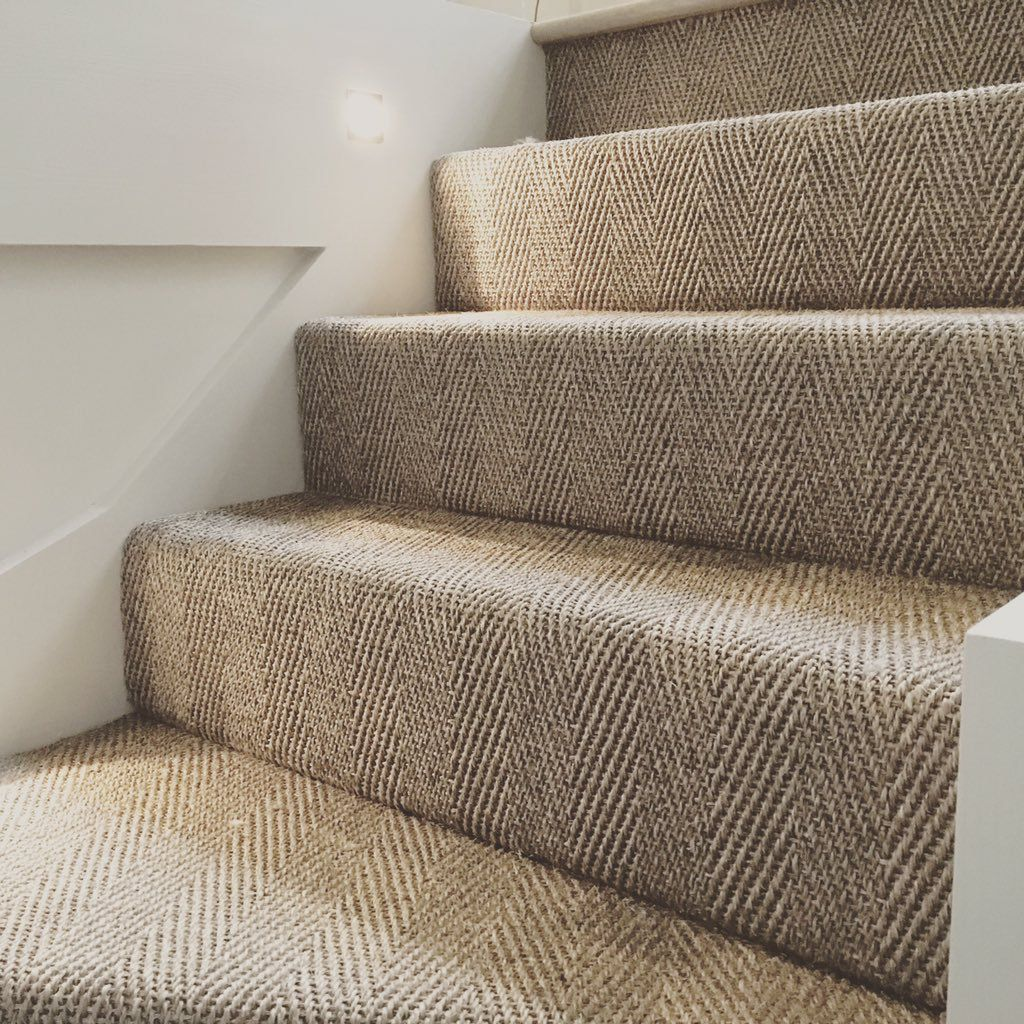 The Herringbone Weave Leads The Eye Up The Stairs Nicely | Best Carpet For Stairs And Landing