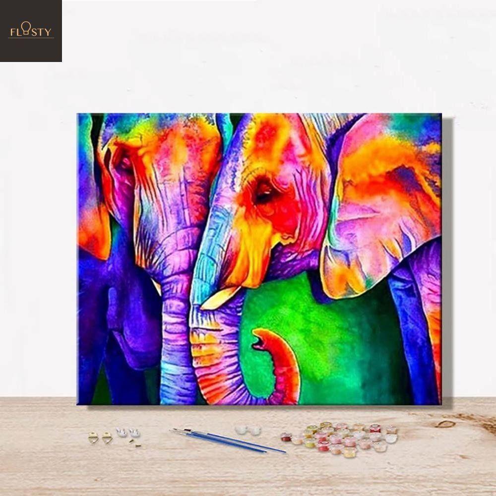 Kindes DIY Elephant-Pattern Rhinestone Painting Home Living Room Decor Cross-Stitch