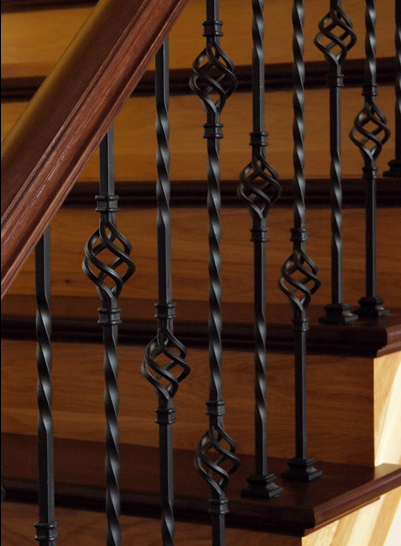 Single Basket And Double Basket Twisted Iron Balusters On A Beautiful  Hardwood Stairway. #housetrends