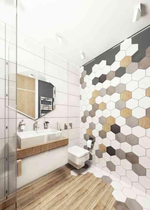 Le carrelage hexagonal de salle de bain, c\'est tendance ...