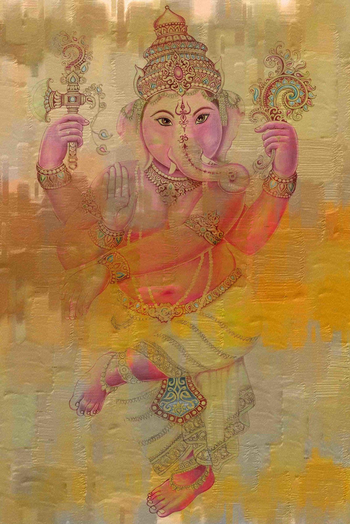 'Elephant Dance' by Parvez Taj Painting Print on Wrapped Canvas