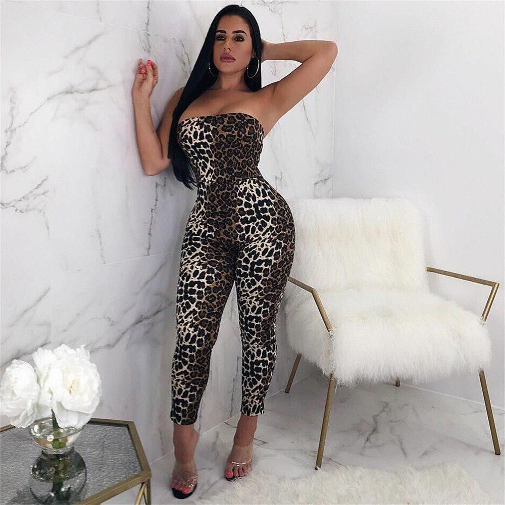 d98109bdfc8 Hot Sexy Leopard Printed Night Club Jumpsuit Summer Strapless Sleeveless  Empire Romper Women Backless Lace Up