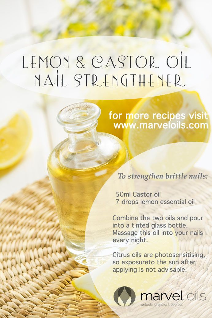 make at home recipe for lemon and castor oil nail strengthener. See ...