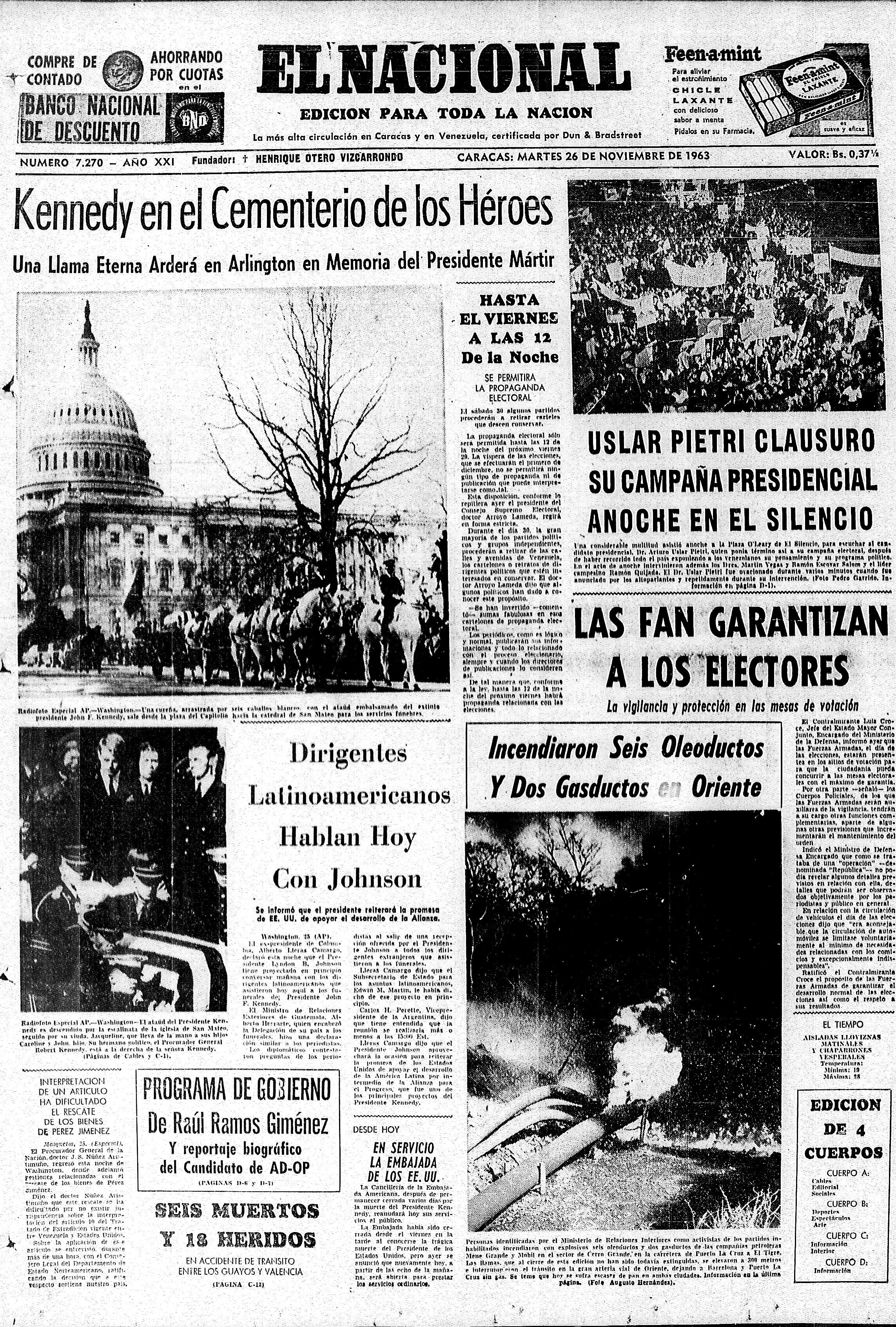 Kennedy en el cementerio. Publicado el 26 de noviembre de 1963.
