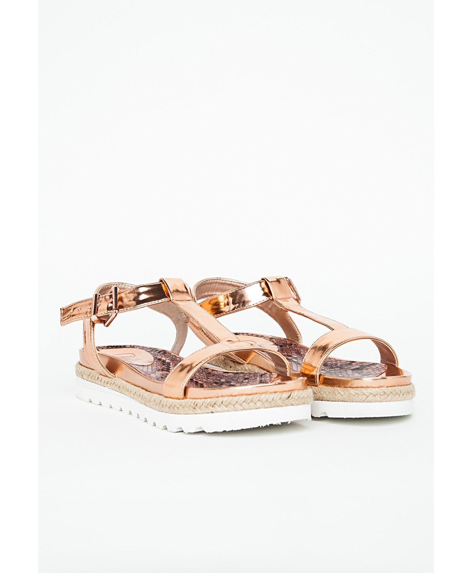 8693ba0d707c T Bar Sandal Rose Gold - Sandals - Flat Shoes - Missguided