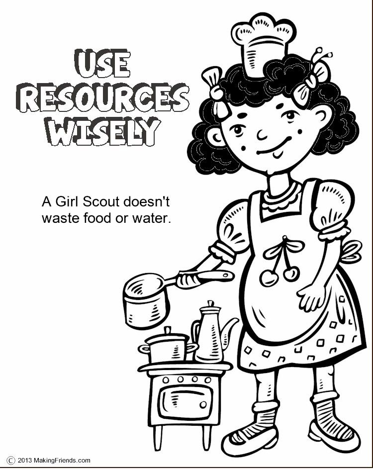The Law Use Resources Wisely Coloring Page Girl Scout Law Girl