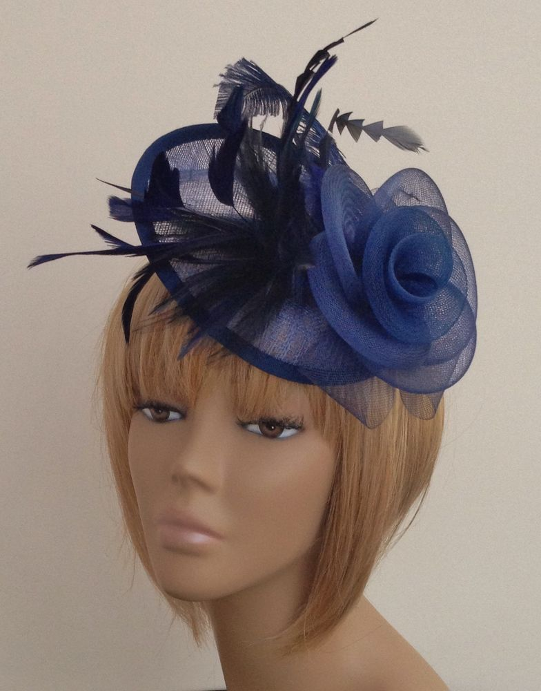 New Navy Blue Hat Fascinator Mother Of The Bride Weddings Las Day Races