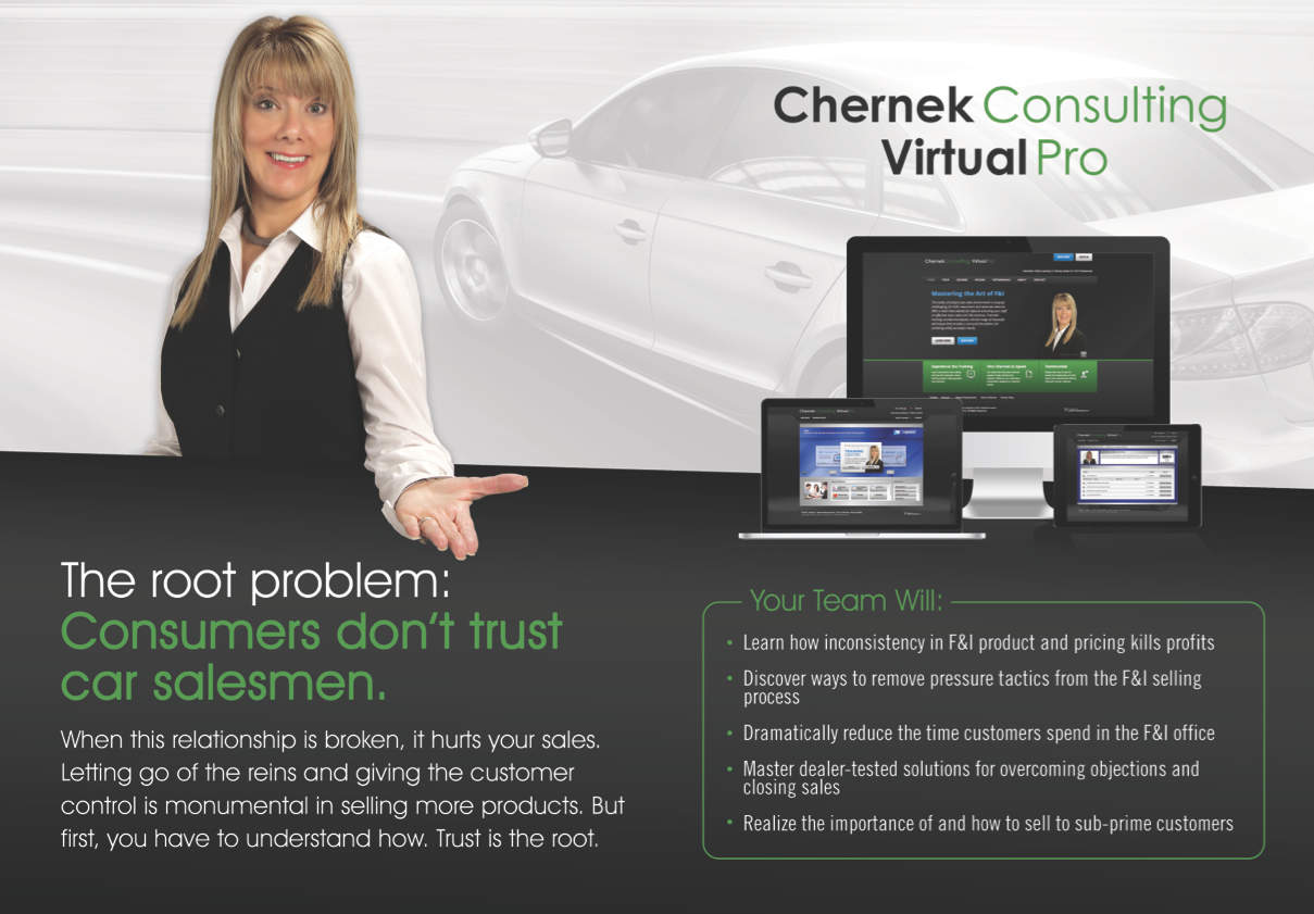 Chernek Consulting Virtual Pro is about to launch! F&I OnLine Training- Exciting engaging interactive designed for either the beginner or advanced student!