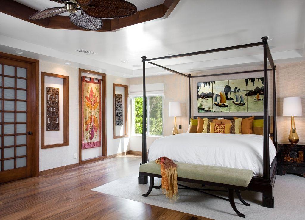 Asian Master Bedroom With Fairfield Chair Bedroom Bench, Shoji Door, Dawson  Canopy Bed,