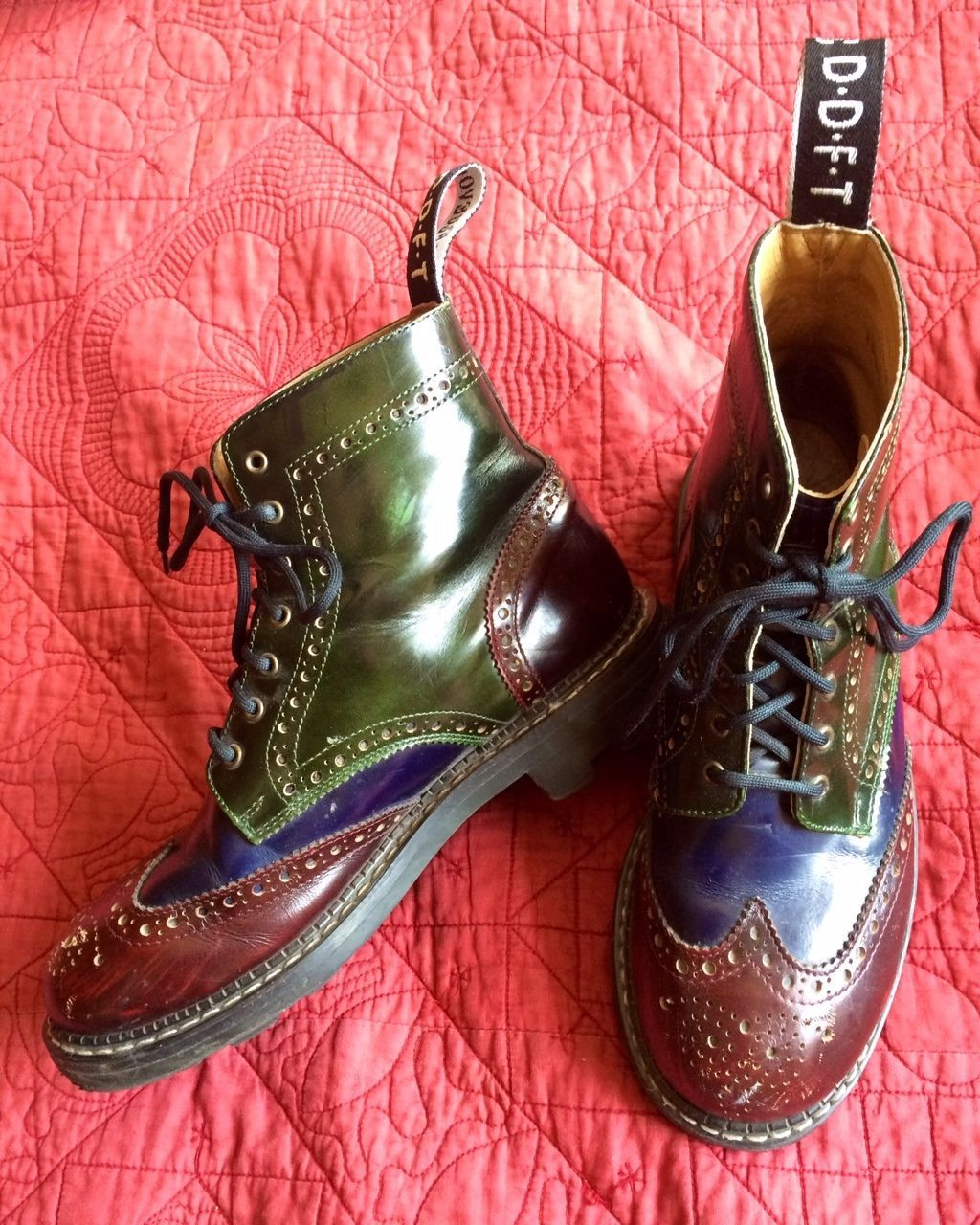 JOHN FLUEVOG DERBY SWIRL ANGEL Womens Oxblood Leather Wing Tip Boots UK 7