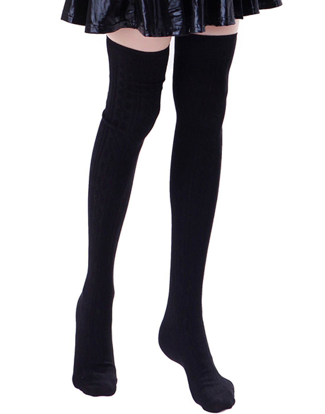 345e0ff8a HDE Womens Opaque Solid Color Cable Knit Over the Knee Thigh High Stocking  Socks