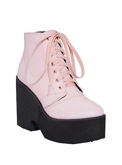 e20c2be916f4 Pastel Pink Lace-Up Platform BootiesPastel Pink Lace-Up Platform Booties