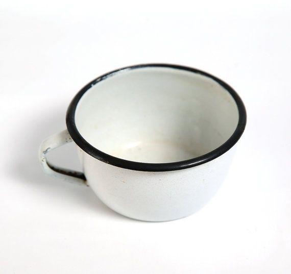 White vintage enamel camping cup, kitchen decor, farmhouse decor ...