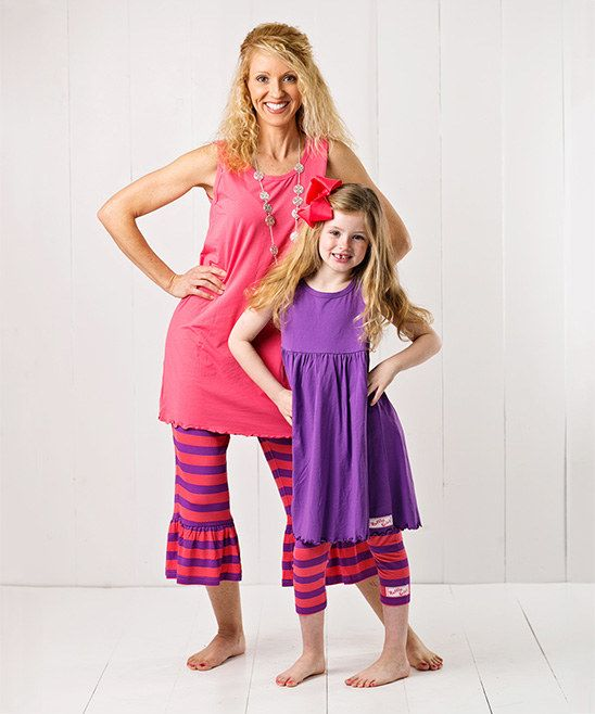 RuffleGirl Coral & Grape Tunic & Stripe Ruffle Capri Pants - Women & Plus | zulily