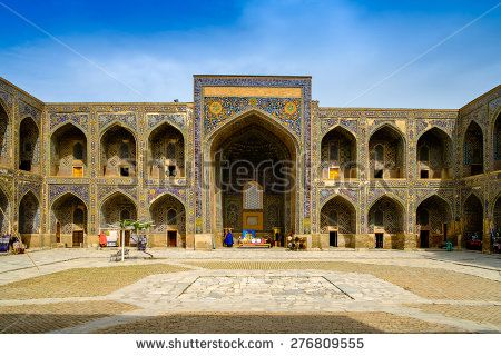 Sher Dor madrasah on Registan square, Samarkand, Uzbekistan - stock photo