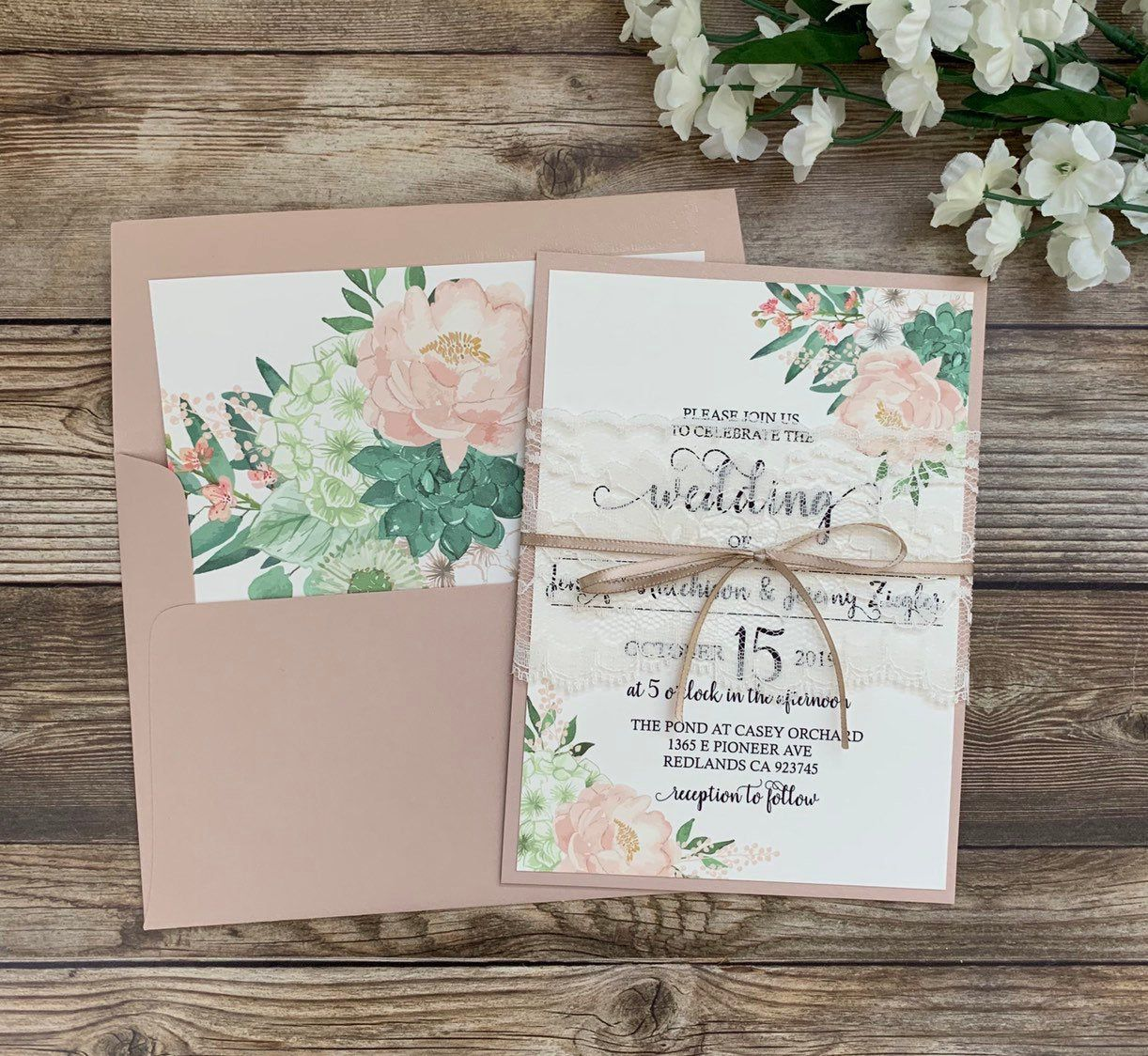 Blush and mint wedding invitation pink and mint wedding